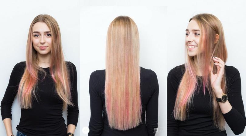 Różowe refleksy na włosach - trend 2017
